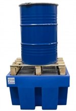 Bacs de rétention polyéthylène sur palette bois